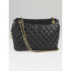 Chanel Vintage Black Quilted Lambskin Leather CC Shoulder Bag