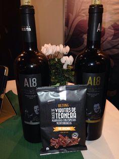 Marca España. Productos de nuestra tierra que salen al mundo de la exportación y que casan/maridan fantásticamente: el vino y las virutas de ternera KuduBiltong