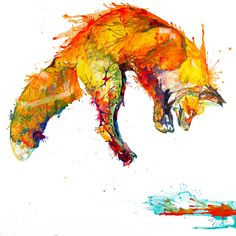 £40 Fox jumping print - 'Leap of Faith' - From a painting by Sarah Taylor