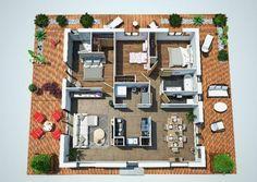 Plano 3d casa de una planta y tres dormitorios en 90 metros cuadrados 20x30 House Plans, Sims 4 House Plans, Sims House, Dream House Plans, House Floor Plans, Studio Apartment Floor Plans, Apartment Plans, House Floor Design, Interior Presentation