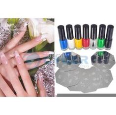 Nail Art Colors Drawing Polish Kit Stamper DIY Printer Machine Tools With 7 Colors Nail #1559