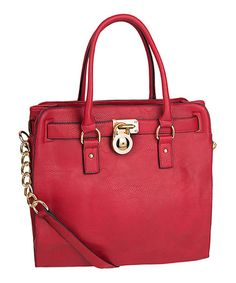 Love this Red Plora Pad-Lock Shoulder Bag by MKF Collection on #zulily! #zulilyfinds