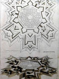 1708 Andrea POZZO Architecture FORTIFICATION Perspective orig. FOLIO engraving