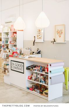 Wrapping station via In Good Company Cape Town {Shop Tour} Retail Counter, Store Counter, Counter Display, Kids Store, Toy Store, Craft Room Shelves, Craft Rooms, Craft Storage, Storage Shelves