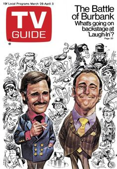 TV Guide March 28, 1970 - Rowan and Martin's Laugh-in. Illustration by Jack Davis.