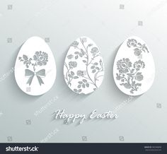 Vector illustration of white paper Easter eggs with floral ornaments.