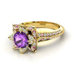 Round Amethyst 14K Yellow Gold Ring with Pink Tourmaline & Diamond