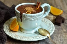 Velvety dark chocolate and zesty orange flavor set this healthy hot cocoa recipe apart. It's the perfect metabolism-boosting recipe for cold weather! Hot Cocoa Recipe, Cocoa Recipes, Hot Chocolate Recipes, Tea Recipes, Chocolate Mix, How To Make Chocolate, Orange Peels Uses, Cinnamon Tea, Raw Cacao