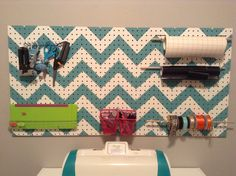 Chevron Pegboard - cute for utility room