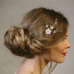 imogen simple pearl and crystal flower wedding comb by debbie carlisle | notonthehighstreet.com