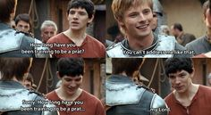 Oh, Merlin from the beginning always pushing Arthur's buttons.