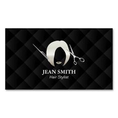 Hair Stylist Short Hair Girl Luxury Black Quilted Double-Sided Standard Business Cards (Pack Of 100)