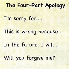 The Four Part Apology; how to help your kids learn to apologize. Best apology … – EmmyMom The Four Part Apology; how to help your kids learn to apologize. Best apology … The Four Part Apology; how to help your kids learn to apologize. Behaviour Management, Classroom Management, Parenting Advice, Kids And Parenting, Peaceful Parenting, Gentle Parenting, Parenting Books, Relation D Aide, Classroom Behavior