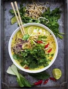 "Laksa is a very easy yet deliciously comforting malaysian soup. It always satisfies my spice needs Don't be thrown off by the long list of ingredients, it's essentially just ""throwing all ingredients Malaysian Cuisine, Malaysian Food, Malaysian Recipes, Laksa Soup Recipes, Laksa Recipe, Chicken Laksa, Asian Recipes, Healthy Recipes, Healthy Chef"
