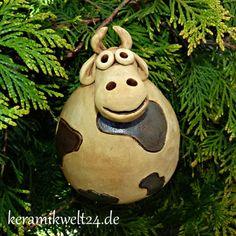 Keramik Kuh Kantenhocker frostsichere  Gartendeko,  Beetstecker, Handarbeit