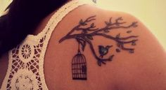 "Similar to this on my thigh. No birdcage, fewer branches, and two birds, side by side, one on the branch, one taking off in flight. ""So give me your hand and let's jump out the window..."""