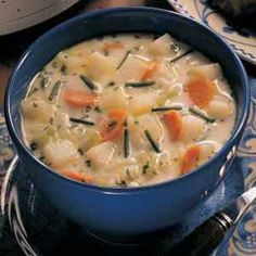No-Fuss Potato Soup  Ihave used this recipe for years. I usually make it on the stove, though and substitute half n half for the evaporated milk.