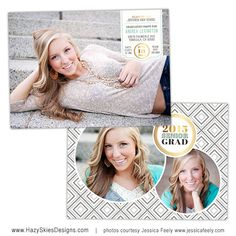 Senior Graduation Announcement Card Template for Photographers - Photoshop Templates for Photographers - Photo Card Template - GD115 on Etsy, $7.50