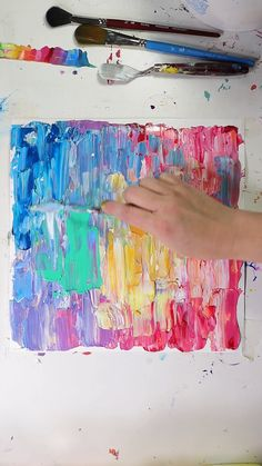 Learn more about Acrylic! quadros pintura Abstract Acrylic Painting with Palette Knife Diy Canvas Art, Abstract Painting Ideas On Canvas, Best Abstract Paintings, Bright Abstract Art, Abstract Art For Kids, Acrylic Painting Inspiration, Abstract Watercolor Art, Colorful Paintings, Art Paintings
