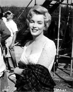 Marilyn Monroe filming The Prince and the Showgirl in England.