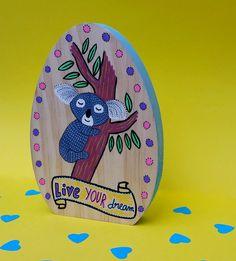 Koala rêveur citation peinture bois illustration par BunnyHeartsYou #koala #animal #australia #forest #nature #leaf #banner #dream #love #illustration #drawing #painting #cute #pretty #girly #etsy #wood #art #diy #craft