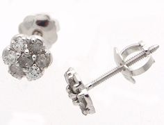 14k White Gold Flower Baby Earrings Screw Back 0.30 Ct Round GH- I Diamonds