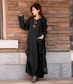 Anysize Simple comfortable breathable loose hem linen&cotton