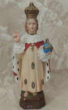Infant Jesus of Prague French Religious  c. 1900 Vintage Chalkware Statue