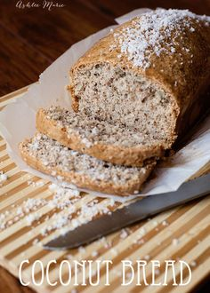 everyone loves this coconut bread with pecans. I like to toast it and add some cream cheese, but even plain it tastes amazing Bread Machine Recipes, Bread Recipes, Baking Recipes, Dessert Recipes, Desserts, Coconut Bread Recipe, Coconut Recipes, Coconut Pecan, Fresh Bread