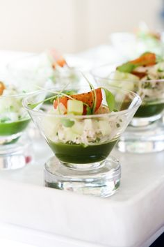 Dungeness Crab Cocktail with Basil Gelee #culinarycapers #canape #horsdoeuvre #catering http://www.culinarycapers.com/ Photo: John C. Watson