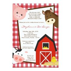 5x7 Farm Animal Cow Horse Baby Shower Invitation