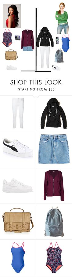 """Emily Fields"" by biih-fferreira on Polyvore featuring J Brand, Hollister Co., Puma, Samsung, Anine Bing, NIKE, Velvet by Graham & Spencer, Proenza Schouler and WithChic"