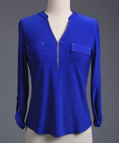 This Royal Blue Zip-Front Long-Sleeve Top - Plus is perfect! #zulilyfinds