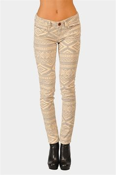 Native Print Jeans - Beige at Necessary Clothing