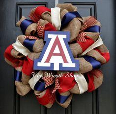 University of Arizona Burlap Wreath - Arizona Wildcats Wreath in Red Navy and White Arizona Wildcats, University Of Arizona, Craft Gifts, Diy Gifts, Burlap Cross Wreath, Diy And Crafts, Arts And Crafts, Crafty Craft, Crafting