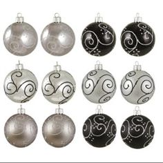 """12ct Silver and Black Swirled Shatterproof Christmas Ball Ornaments 2.5"""" (60mm)"""
