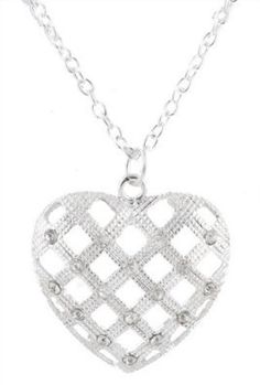 2 Pieces of Ladies Silver Iced Out Basket Weave Heart Style Pendant with a 27 Inch Link Chain Necklace $0.05 #bestseller