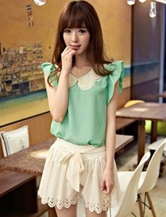 Women Sweet Style Contrast Petal Collar Cape Sleeve Dot Printed Top - Item 694695 at Eastclothes.com
