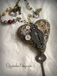 Altered Mixed Media Jewelry Vintage Style Keyhole Necklace~ Gypsy Style by QueenBe