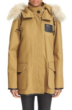 COACH 1941 'icon' Hooded Cotton Parka with Removable Genuine Shearling Trim available at #Nordstrom