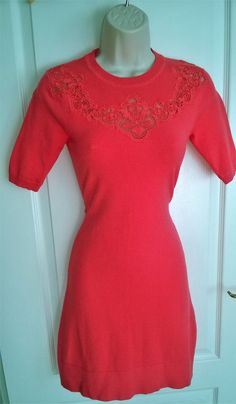 fde7636ff4f1 RARE KAREN MILLEN FLORAL LACE KNIT BODYCON JUMPER DRESS SIZE XS 8 6 CORAL  PINK #fashion #clothing #shoes #accessories #womensclothing #dresses (ebay  link)
