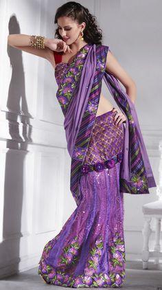 $88.19 Bluish Purple Faux Georgette,Net Lehenga Saree 12203