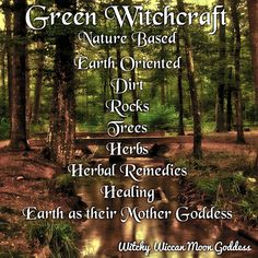 Witchy Wiccan Moon Goddess The Many Types of Witchcraft: Green Witchcraft Types Of Witchcraft, Witchcraft Books, Green Witchcraft, Wiccan Spells, Healing Spells, Pagan Altar, Nature Witch, Witchcraft For Beginners, Green Magic