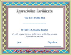 Special day thank you gift certificate template beautiful certificate of appreciation template for amazing teacher thecheapjerseys Image collections