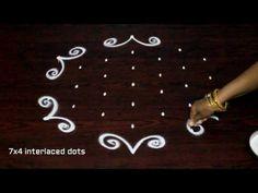 muggulu designs with 7x4 dots || simple kolam designs || easy rangoli art designs - YouTube