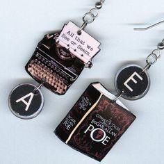 Book Earrings Edgar Allan Poe POEM quote by DesignsByAnnette, $16.00
