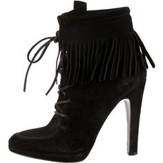 Pre-owned Giuseppe Zanotti x Balmain Suede Fringe Booties ($175) ❤ liked on Polyvore featuring shoes, boots, ankle booties, black, suede ankle booties, fringe boots, suede booties, black boots and suede lace up booties