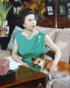 Queen Elizabeth and a corgi