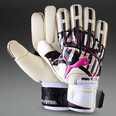 Puma Goalkeeper Gloves - Puma PowerCat 1.12 Grip GK - Goalie Gloves - Goalkeeping - White-Black-Flourescent Pink