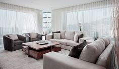 White curtains living room ideas view in gallery white sheer curtains usher in a breezy style Curtains Living, Living Room Windows, Modern Curtains, Apartment Curtains, Window Curtains, Living Room Modern, Living Room Designs, Home Decor Bedroom, Living Room Decor